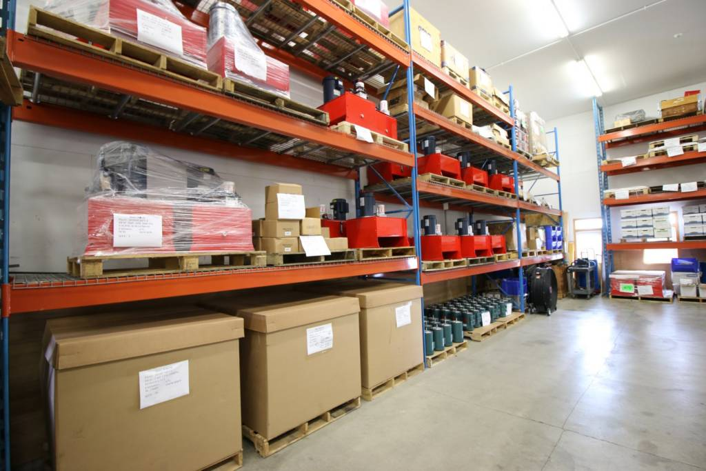 Large warehouse of hydraulics