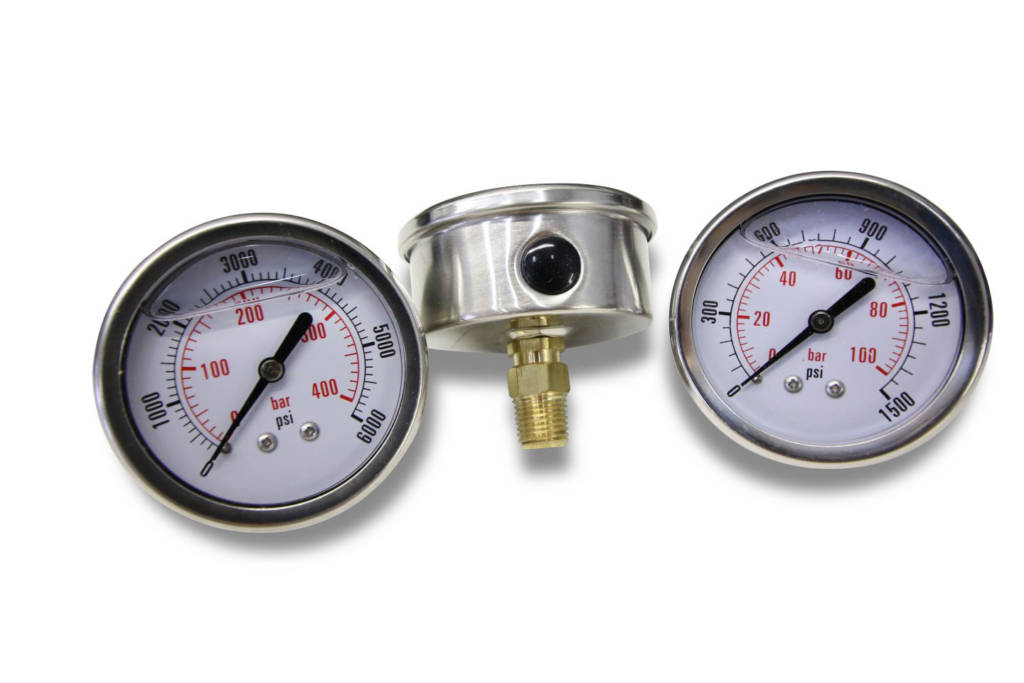 hydraulic back mount pressure gauge